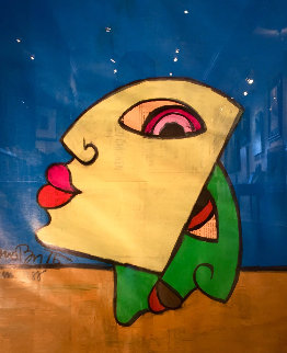 Lips 1988 on Newspaper 30x25 Original Painting - Romero Britto