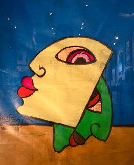 Lips 1988 on Newspaper 30x25 Original Painting by Romero Britto