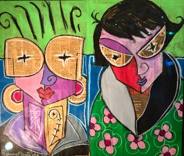 Elvis on Newspaper 1988 22x26 Original Painting by Romero Britto