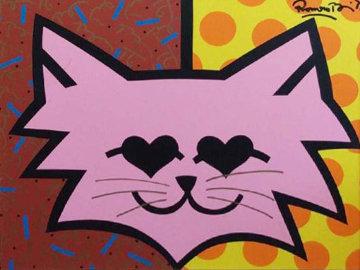 Pink Cat 1993 26x32 Original Painting by Romero Britto