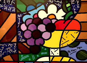 Morning Delight 23x26 Double Signed 11x14 Original Painting - Romero Britto