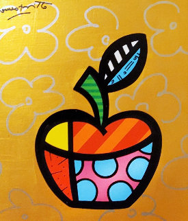 Gold Apple 2017 24x22 Original Painting - Romero Britto