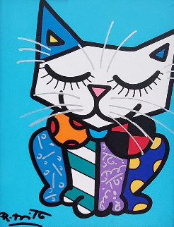 Blue Cat 2016 22x20 Original Painting - Romero Britto
