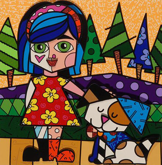 Girl With Dog 3-D 2016 Limited Edition Print by Romero Britto