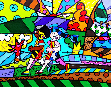 Untitled (Runners) 2007 32x40 Original Painting - Romero Britto