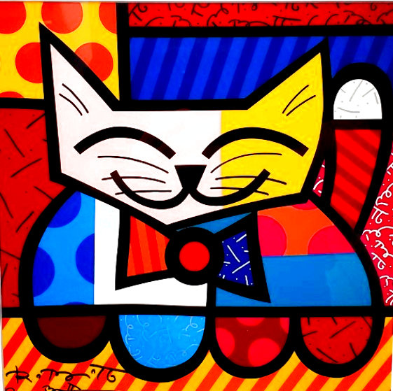 Untitled Cat Unique 18x17 Works on Paper (not prints) by Romero Britto
