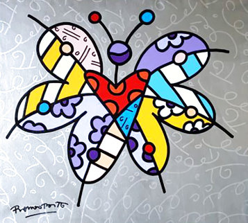 Butterfly, Butterfly 2006 38x35 Huge Original Painting - Romero Britto