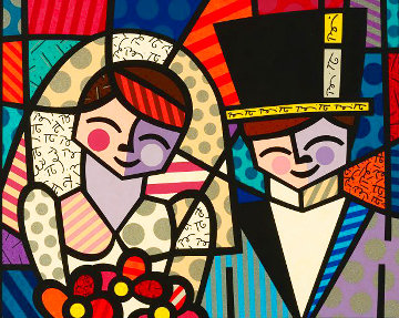 Bride Groom 2000 Limited Edition Print - Romero Britto