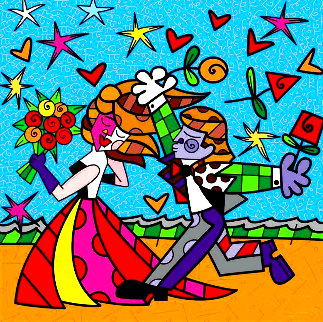 I Love You 2011 Embellished Limited Edition Print - Romero Britto