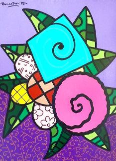 Lavender 2014 49x39 Huge Original Painting - Romero Britto