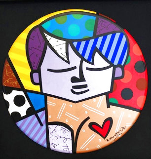 A Man in Love 2001 48x48 Huge Original Painting - Romero Britto