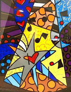 A Star is Born 2002 32x40 Huge Original Painting - Romero Britto