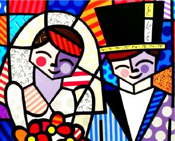 Bride and Groom 1996 3-D Limited Edition Print - Romero Britto