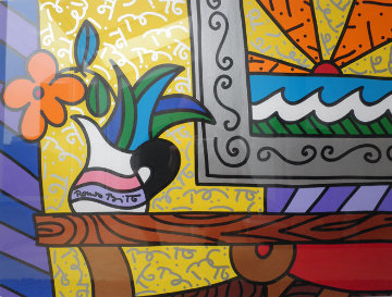 A Day is Born 1996 19x27 Original Painting by Romero Britto