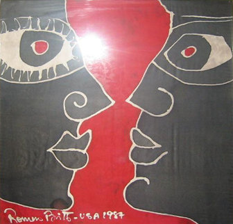 Untitled Painting on silk (Early 1987) 20x20 Original Painting - Romero Britto