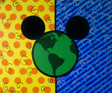 Mickey's World 1991 48x58 Original Painting - Romero Britto