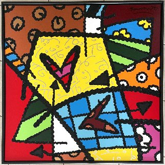 Untitled Painting 49x49 Original Painting - Romero Britto