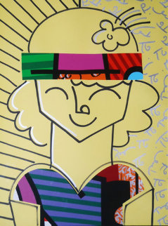 Jenna (Collage) 1997 40x32 Super Huge Original Painting - Romero Britto