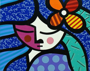 Girl with Flower AP 2004 Limited Edition Print - Romero Britto