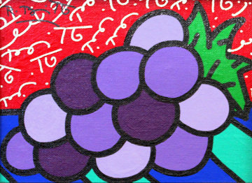 Untitled (Grapes) 2004 14x12 Original Painting by Romero Britto