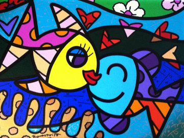Two Fish 2011 28x34 Original Painting - Romero Britto