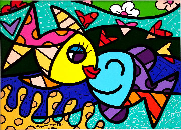 Two Fish 2011 28x34 Original Painting by Romero Britto