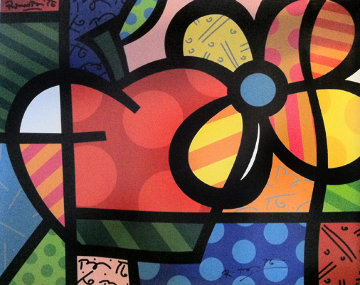 Thank You 2004 Embellished Limited Edition Print - Romero Britto