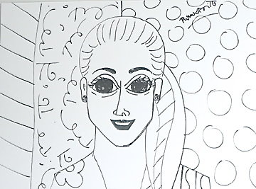 Beautiful Allarra Drawing 2000 32x35 Drawing - Romero Britto