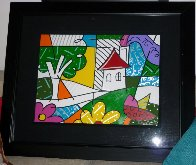 House With Tree on Left 1997 34x41 Huge Original Painting by Romero Britto - 1