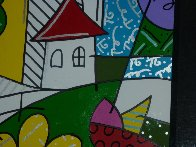 House With Tree on Left 1997 34x41 Huge Original Painting by Romero Britto - 5