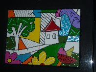 House With Tree on Left 1997 34x41 Huge Original Painting by Romero Britto - 3