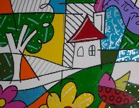 House With Tree on Left 1997 34x41 Huge Original Painting by Romero Britto - 2