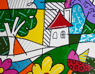 House With Tree on Left 1997 34x41 Huge Original Painting by Romero Britto - 0