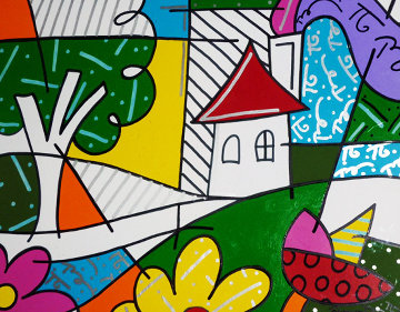 House With Tree on Left 1997 34x41 Huge Original Painting - Romero Britto