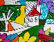 House With Tree on Left 1997 34x41 Original Painting by Romero Britto - 0
