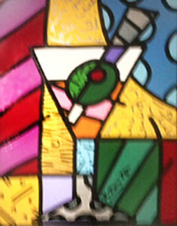 Martini Glass With Olive 23x20 Original Painting by Romero Britto