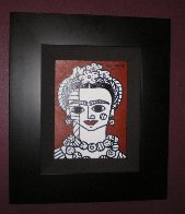 Brown Frida 2002 22x19 Frida Kahlo Original Painting by Romero Britto - 2