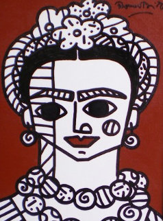 Brown Frida 2002 22x19 Frida Kahlo Original Painting by Romero Britto