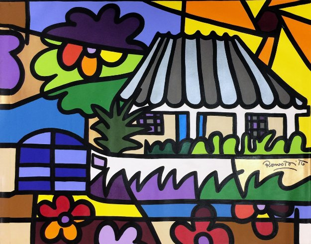 Back in Time II 2000 48x60 Original Painting by Romero Britto