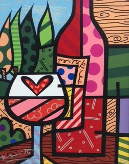 Wine Glass And Bottle 2000 Limited Edition Print - Romero Britto
