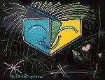 Untitled (Orange / Blue Face) 1992 28x3 Original Painting - Romero Britto