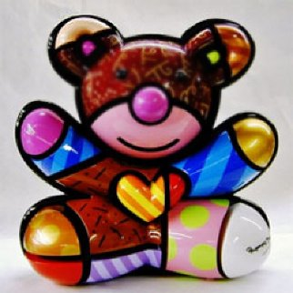 Teddy Bear AP Wood Sculpture 2005 17 in  Sculpture by Romero Britto