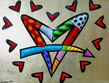 Love Circle Love Resin Sculpture 2013 48x60 Sculpture by Romero Britto