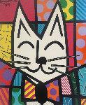 Cat 1993 40x36 Original Painting - Romero Britto