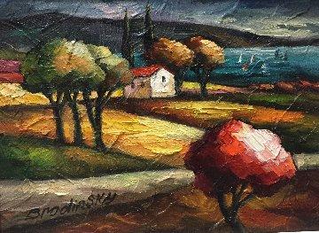 By the Lake 23x25 Original Painting - Slava Brodinsky