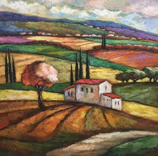 Summer in the Countryside 50x50 Original Painting - Slava Brodinsky