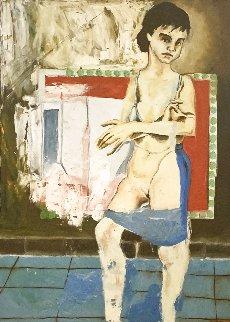 Young Prostitute 1989 55x40 Original Painting - Juan Carlos Bronstein
