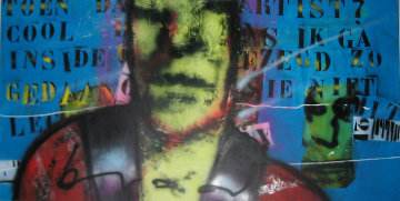 Untitled Painting 48x60 Huge Original Painting - Herman Brood
