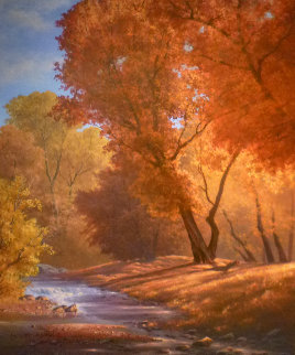 Autumn Blaze 1994 31x35 Original Painting - Wendell Brown