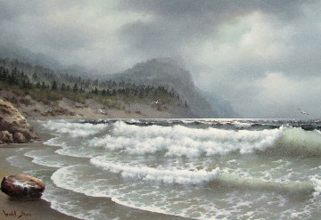 Untitled Seascape 30x55 Original Painting - Wendell Brown